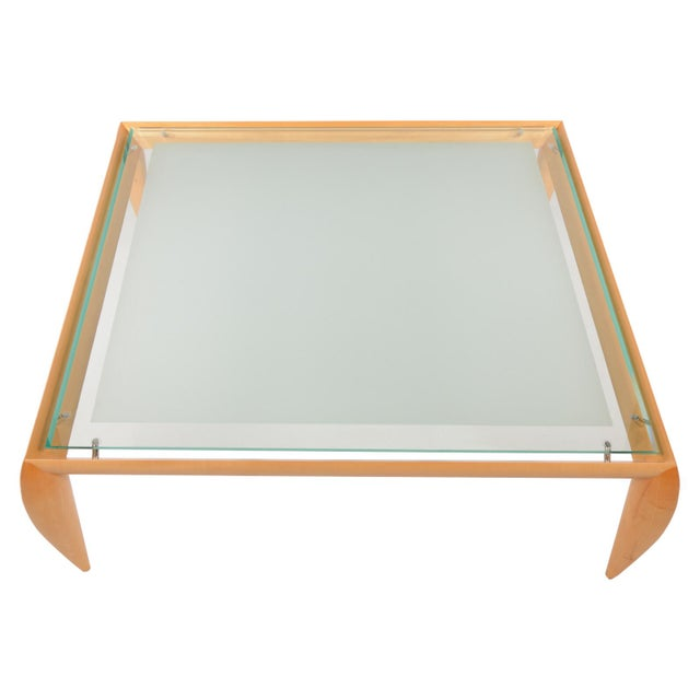 1990s 1990s Contemporary Brueton Wood & Glass Top Coffee Table For Sale - Image 5 of 5