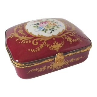 Antique Limoges France Porcelain Handpainted Trinket Box For Sale