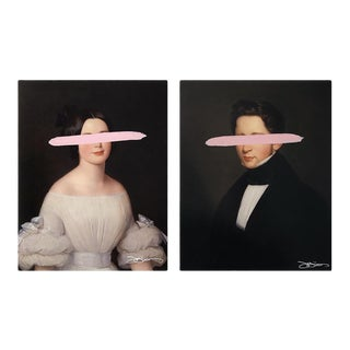"Josh Young Design House ""Emma & Eugene - Blush"" Mixed Media Paintings - a Pair For Sale"
