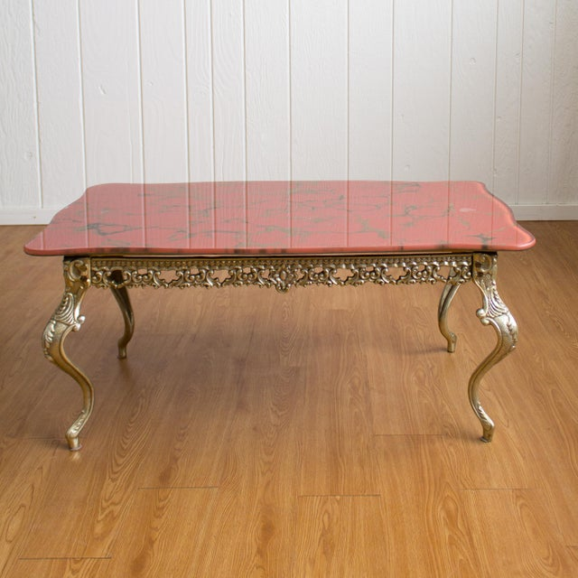 Hollywood Regency Coffee Table | Cabriole Legs Marbled Red Glass For Sale - Image 13 of 13