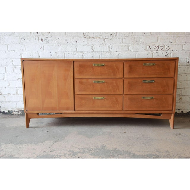 Mid-Century Modern Mahogany Parquetry Credenza by Red Lion For Sale - Image 11 of 11