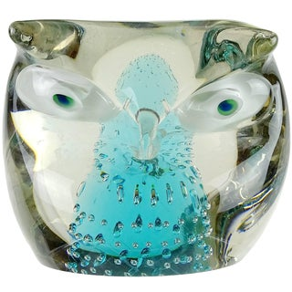 Cenedese Murano Sommerso Blue Core Italian Art Glass Owl Sculpture Paperweight For Sale