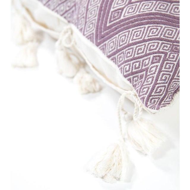 "Handwoven Mauve Diamond Pillow - 18"" × 18"" - Image 3 of 8"