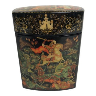 Late 20th Century Vintage Russian Alexander Pushkin Poem Lacquered Box