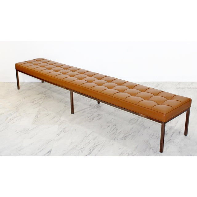 For your consideration is a marvelous X-long museum tufted cognac brown leather bench, on a bronze finished base, circa...