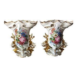 Antique Floral Old Paris Floral Vases - a Pair For Sale