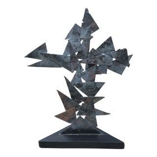 Vintage Brutalist Welded Geometric Triangle Sculpture For Sale