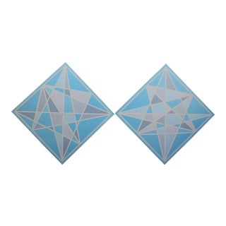 Light Blue Hard Edge Geometric Prism Abstract Paintings - a Pair