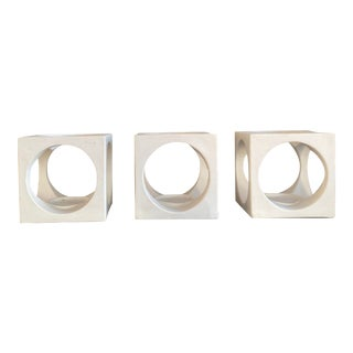 1960s White Mid-Century Ceramic Sculptures/Candle Holders - Set of 3 For Sale