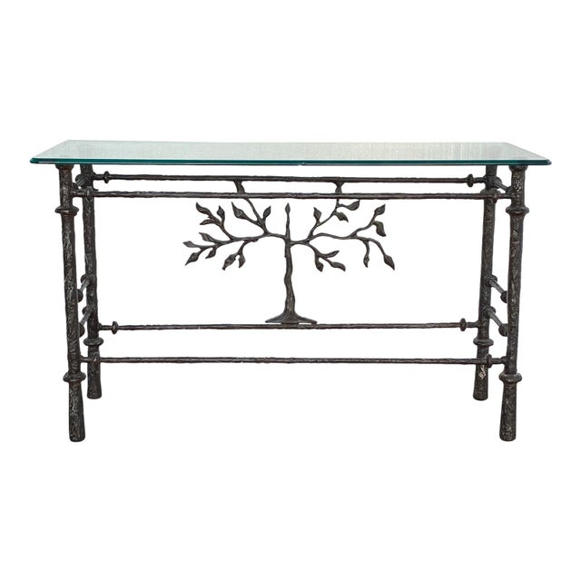Metal 1970s Giacometti Style Welded Metal & Glass Console Table For Sale - Image 7 of 8