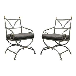 Vintage Cramco French Regency Wrought Iron Frame Curule Arm Chairs- A Pair For Sale