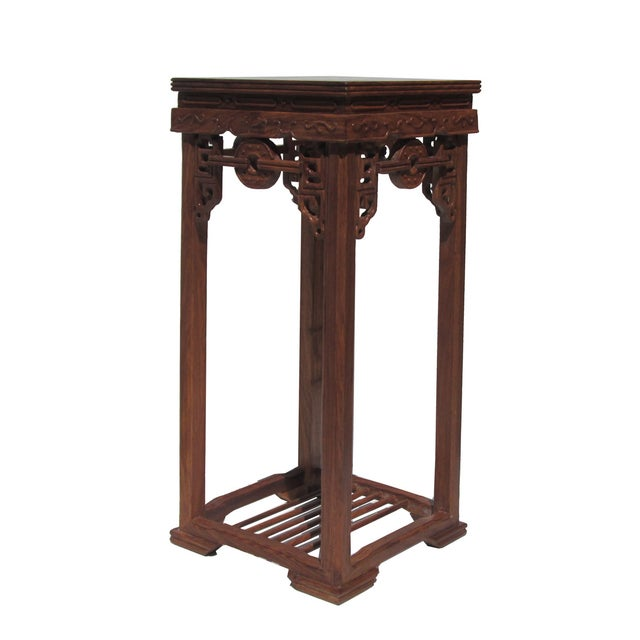 Chinese Rosewood Coin Pattern Square Plant Stand - Image 3 of 5