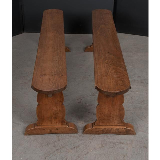 French Provincial Pair of French 19th Century Provincial Oak Benches For Sale - Image 3 of 13