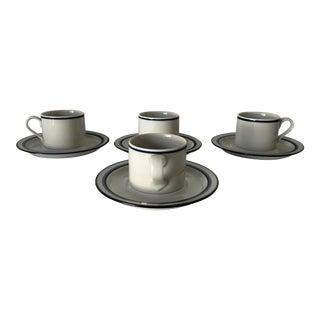 Dansk Japan Bistro Christianshvn Blue Set-4 Coffee Cups & Saicers For Sale