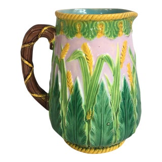 19th Century Majolica Wheat Pitcher George Jones For Sale