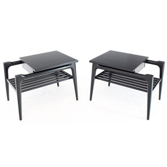 Pair of Black Ebonised One Drawer End Nightstands With Magazine Rack Sculptural For Sale - Image 13 of 13