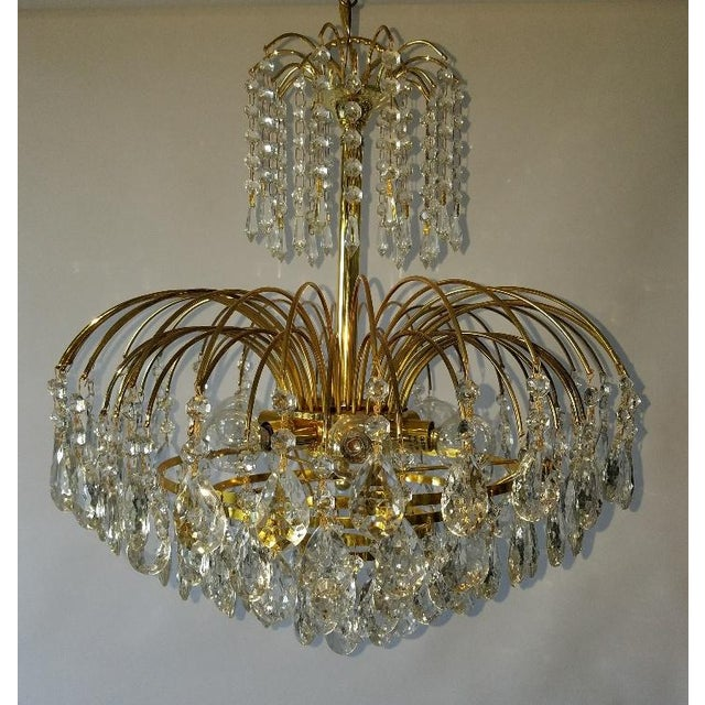 Mid-Century Crystal & Brass Plated Spider Chandelier - Image 2 of 11