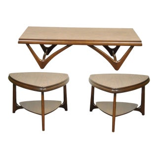 3 Pc Vintage Mid Century Danish Modern Mersman Coffee Table End Side Table Set For Sale