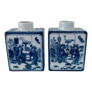 1980s Vintage Rectangular Chinoiserie Vases - a Pair For Sale