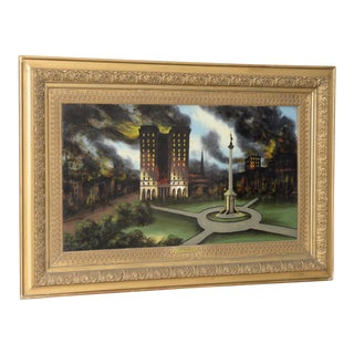 Reverse Glass Painting of San Francisco 1906 Earthquake Fire at Union Square C.1910