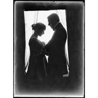 Early 1900's Man & Wife Next to Window Print For Sale