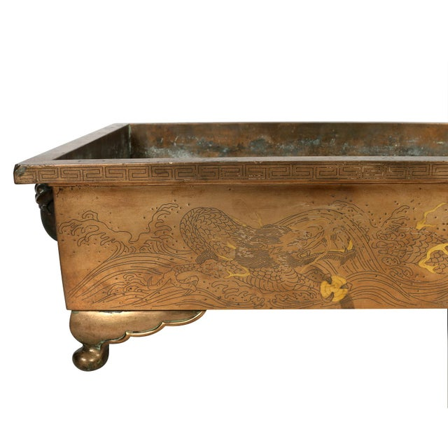 Asian Vintage Brass Low Asian Jardiniere For Sale - Image 3 of 4