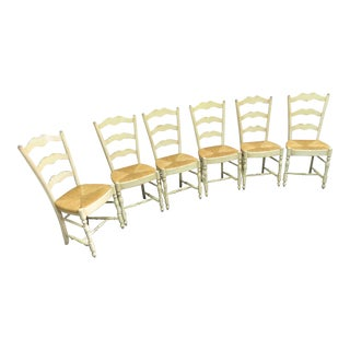 Late 20th Century Grange Country French Cream Rush Seat Dining Chairs- Set of 6 For Sale