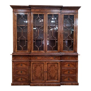 20th Century English Traditional Glazed Walnut Breakfront Cabinet For Sale