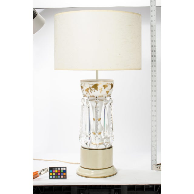 Mid-Century Modern White Glass Double Cluster Table Lamp For Sale - Image 3 of 11