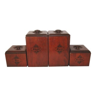 Vintage Lined Wooden Canisters - Set of 4 For Sale
