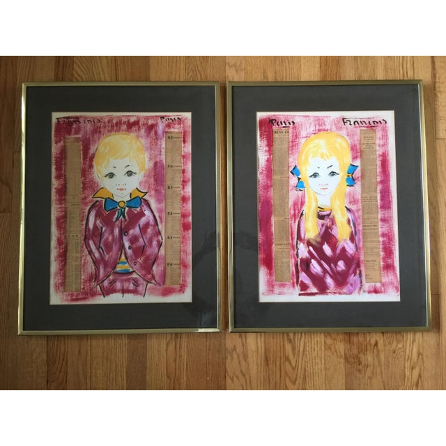 1960s Vintage Francois Paris Girl and Boy Portraits Mixed Media Paintings - A Pair For Sale - Image 13 of 13