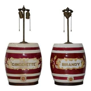 Pair of 19th Century Ceramic Barrel Dispenser Lamps For Sale