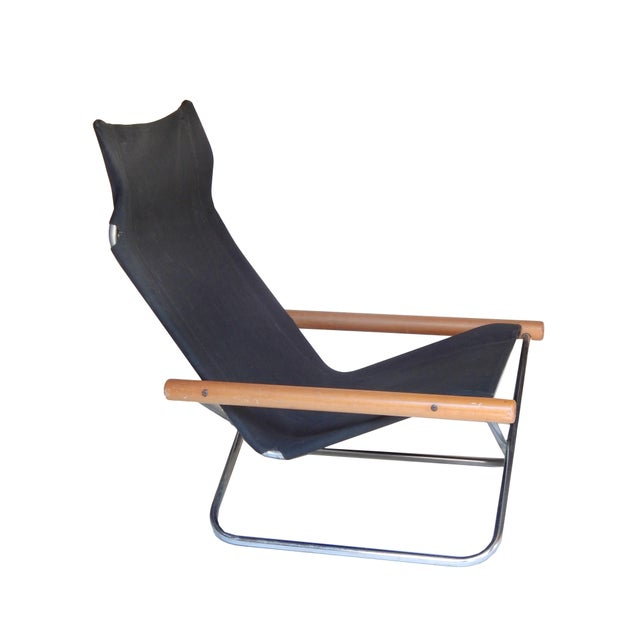 Takeshi Nii Canvas Folding Chair and ottoman by Takeshi NII For Sale - Image 4 of 9
