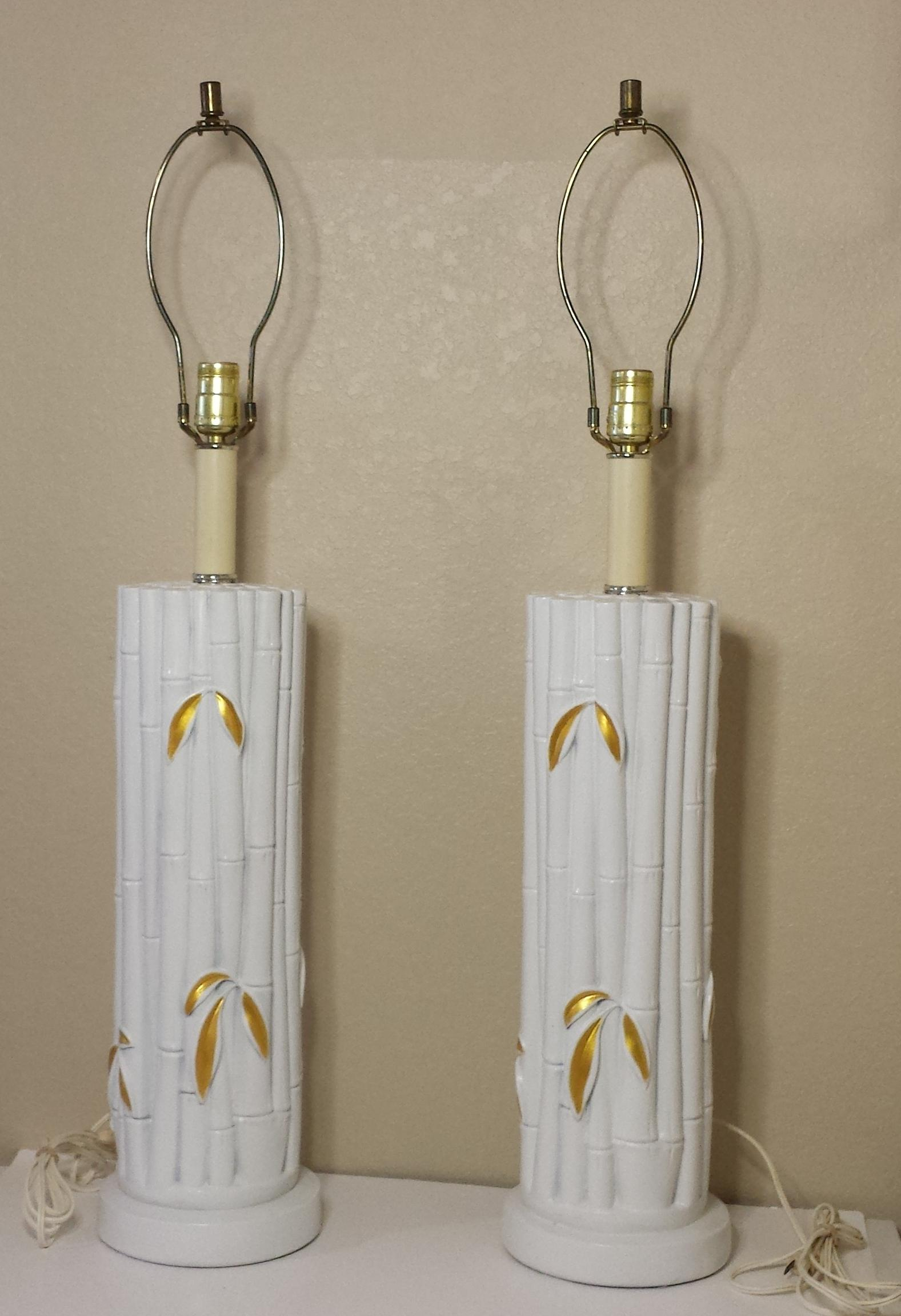 This Listing Is For A Pair Faux Bamboo Ceramic Table Lamps. Painted In Gloss