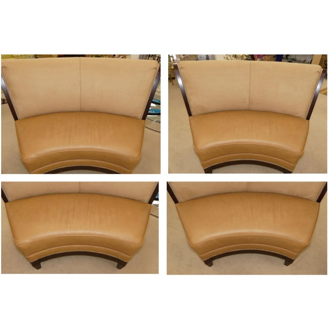 Stanford Furniture Leather & Suede Garrett Curved Dining Bench or Banquette- a Pair For Sale - Image 10 of 13