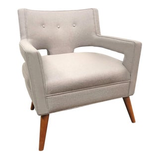 Modern Transitional Cut-Out Back Accent Chair For Sale