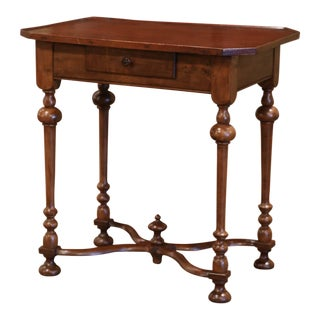 Late 19th Century French Louis XIII Carved Walnut Side Table With Drawer For Sale