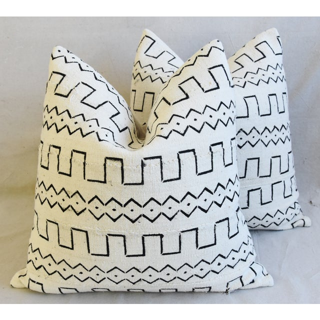 "Organic Neutral & Black Mali Tribal Mud Cloth Feather/Down Pillows 22"" Square - Pair For Sale - Image 13 of 13"