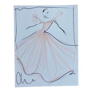 """Blush Flutter Sleeve Ball Gown"" Original Christian Siriano Sketch For Sale"