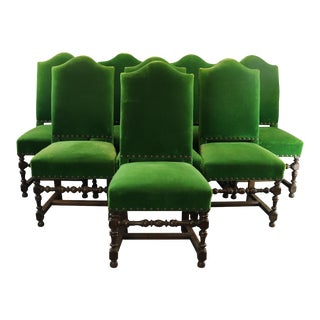 Louis XIII Renaissance Emerald Dining Chairs - Set of 8 For Sale