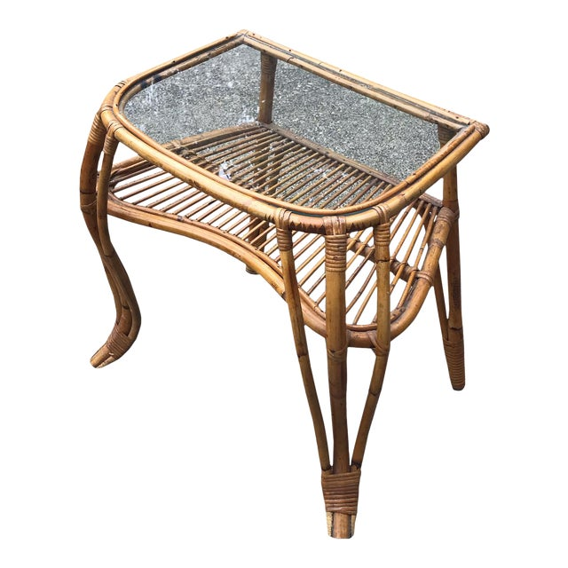 Vintage Boho Chic Rattan and Bamboo Side Table For Sale