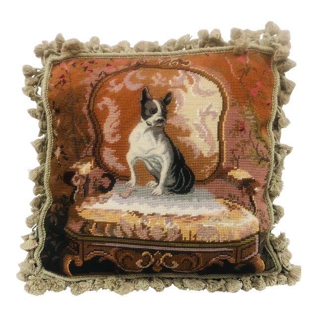 Vinatge Needlepoint With Tassel Trim Pillow of Bulldog For Sale