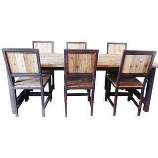 Industrial Wood & Iron Dining Set For Sale