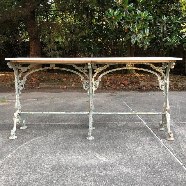 Late 19th Century 19th Century Cast Iron Marble Top Sofa Table ~ Confectioner's Table For Sale - Image 5 of 13