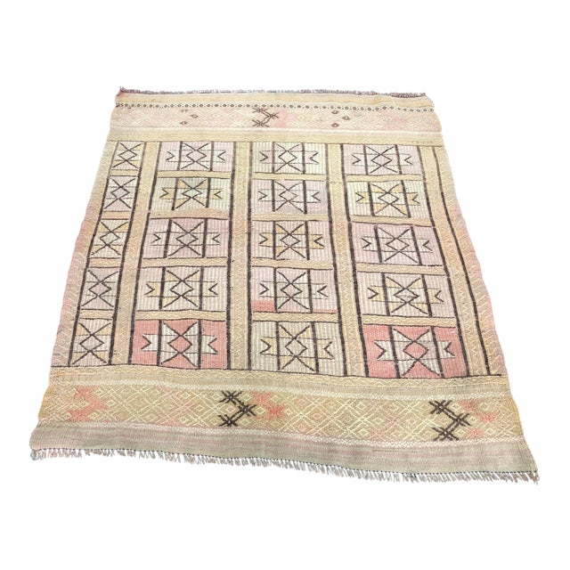 "1960s Vintage Beige Turkish Traditional Kilim Rug- 3'11"" x 4'5"" For Sale"