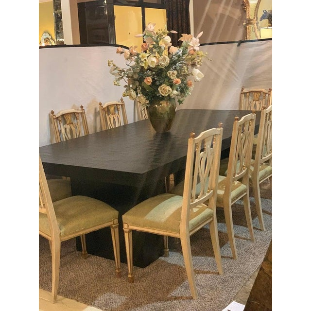 Hollywood Regency Style Ebonized Oak Dining Table and Two Leaves For Sale - Image 12 of 13