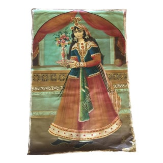 Antique 19th Century Persian Qajar Tea House Oil Painting on Canvas For Sale