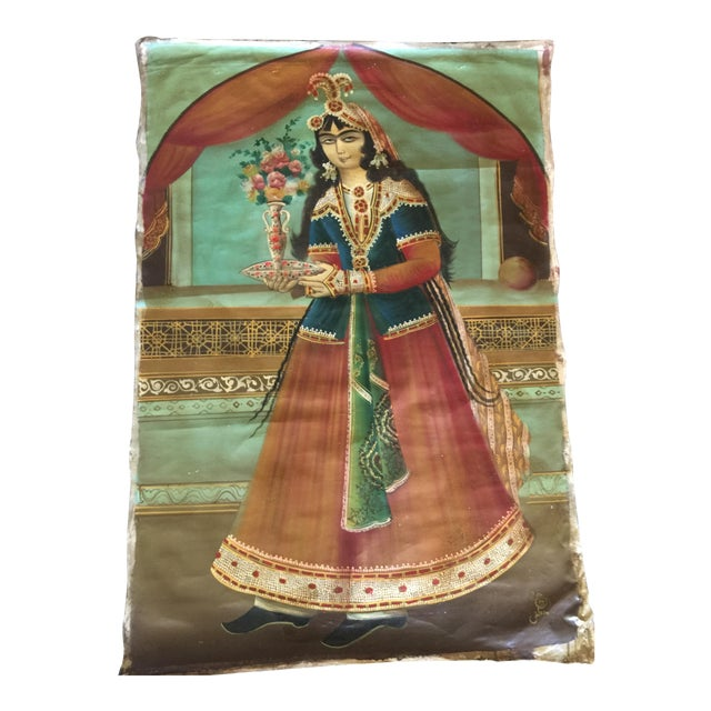 Antique Early 20th Century Persian Qajar Tea House Oil Painting on Canvas For Sale