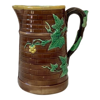 Antique French Majolica Ivy Pitcher Sarreguemines, Circa 1880 For Sale