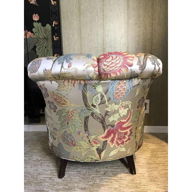 1940s Pullman Armless Floral Silk Upholstered Slipper Chairs - a Pair For Sale - Image 11 of 13